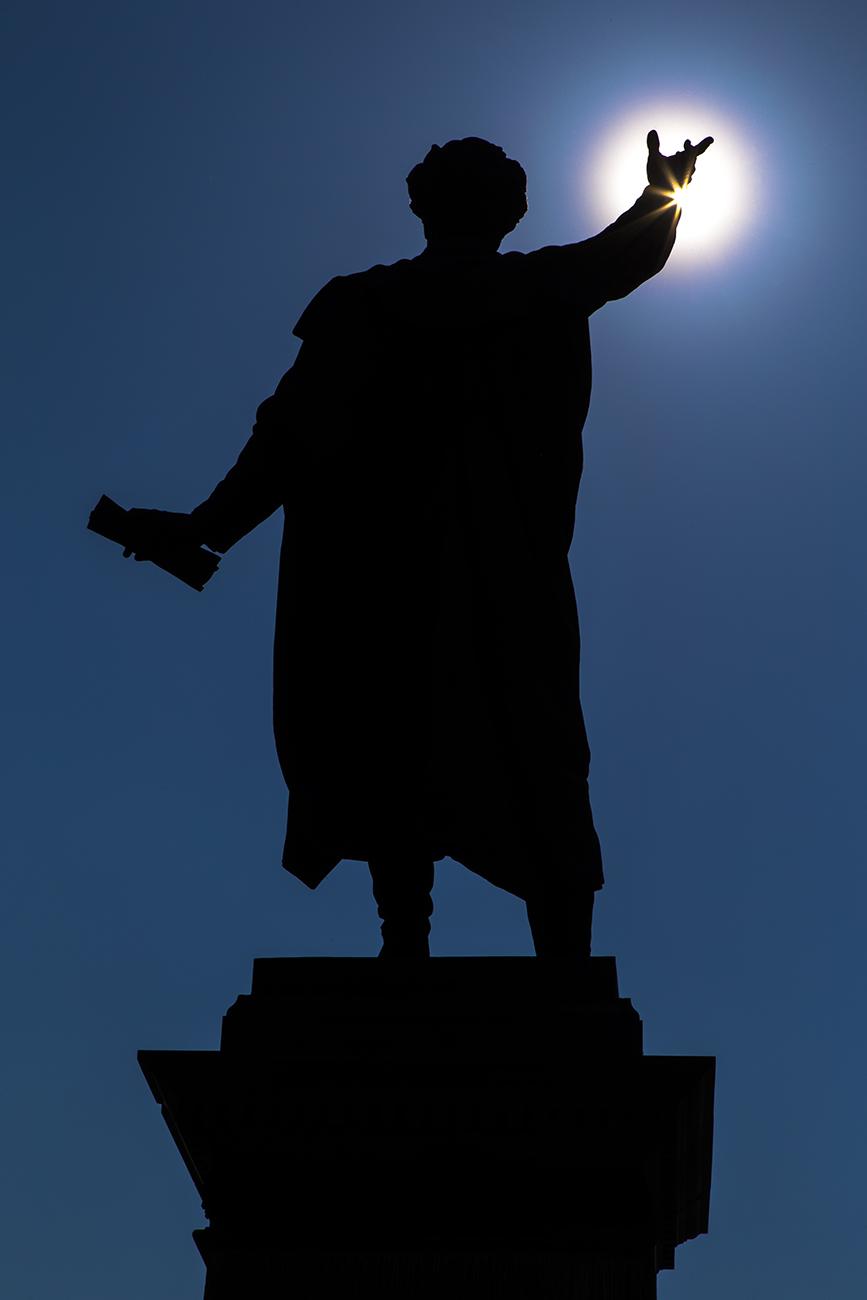 Petőfi Statue in Budapest. Petőfi, ungarischer Dichter und Volksheld der ungarischen Revolution von 1848.